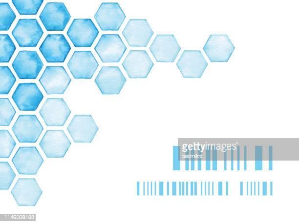wasserfarben-hintergrund mit blauen hexagonen - molekül stock-grafiken, -clipart, -cartoons und -symbole