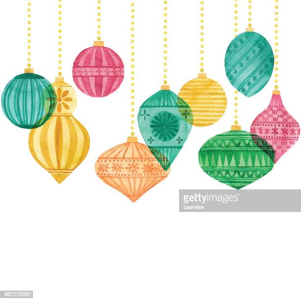watercolor background with christmas ornaments - christmas ornament stock illustrations