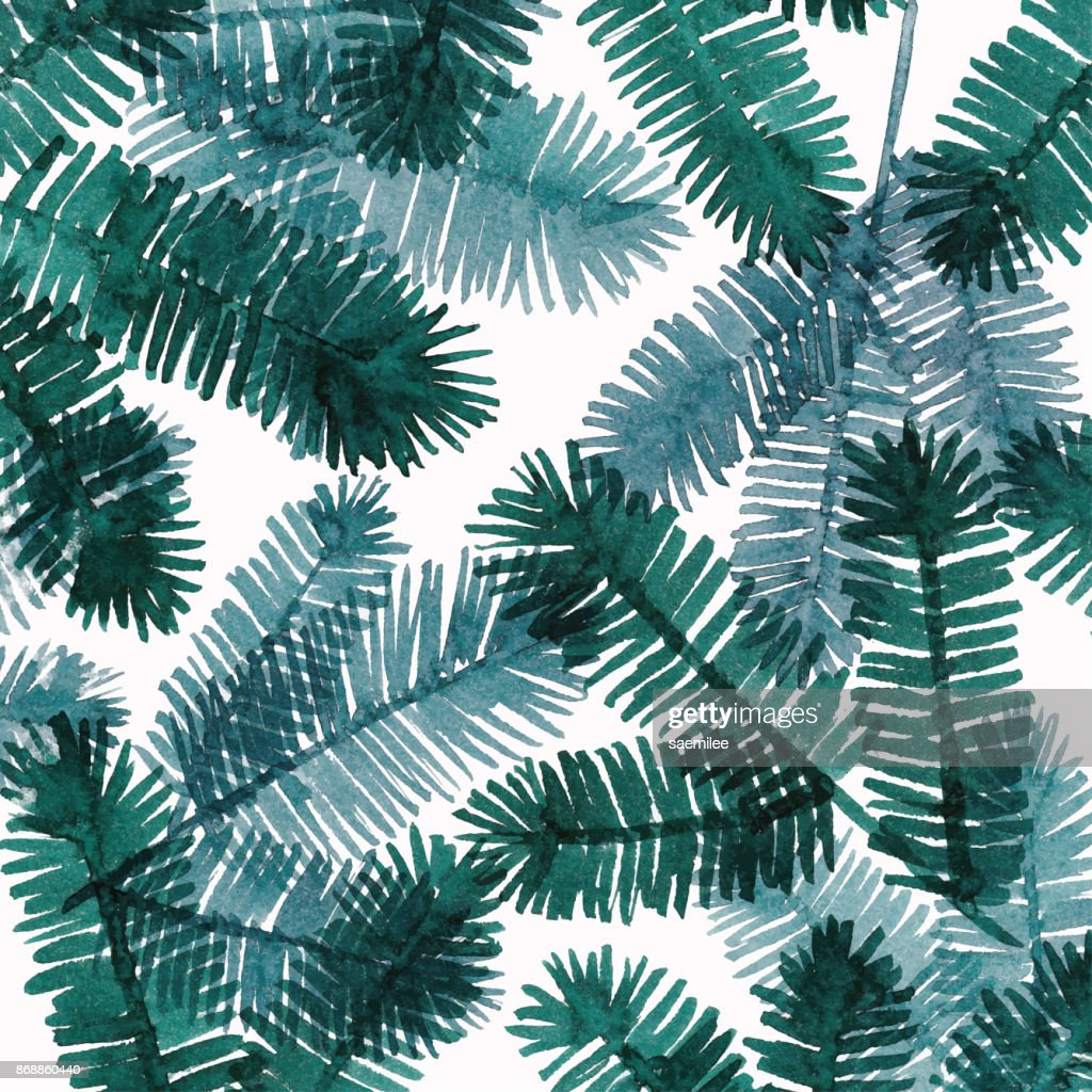 Watercolor Background With Pine Tree Twigs : stock illustration