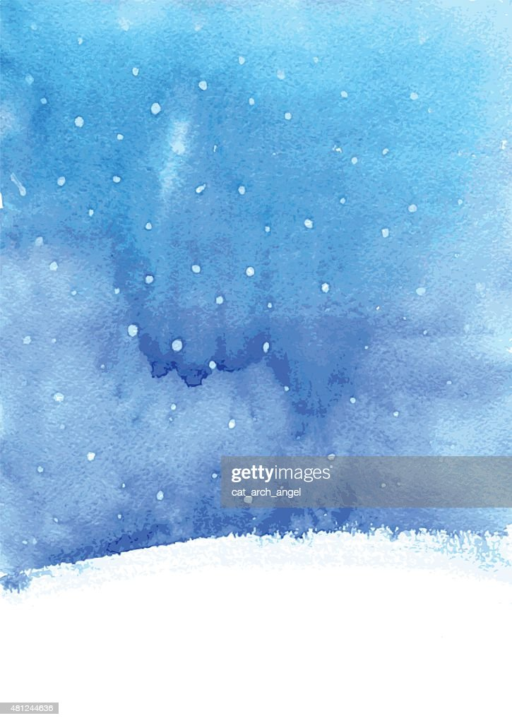 watercolor background with snow