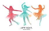 Watercolor ballet dancer silhouette