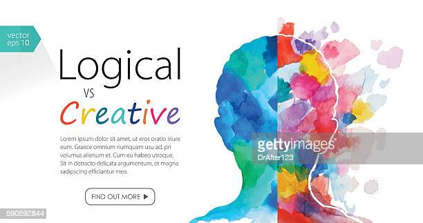 watercolor banner depicting logical vs creative thinking - mental health stock illustrations, clip art, cartoons, & icons