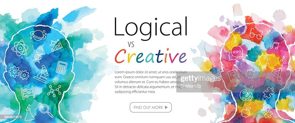 Watercolor Banner Depicting Logical Vs Creative Thinking