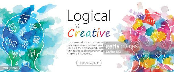 watercolor banner depicting logical vs creative thinking - painting activity stock illustrations, clip art, cartoons, & icons
