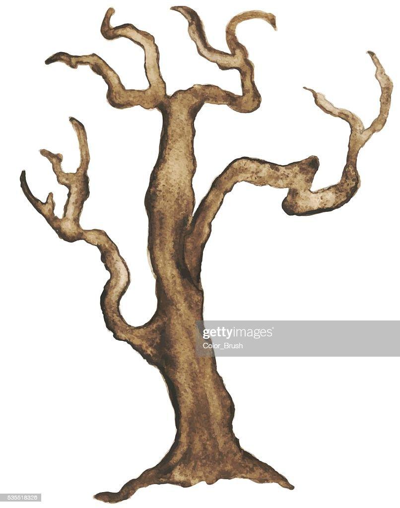 Watercolor bare tree