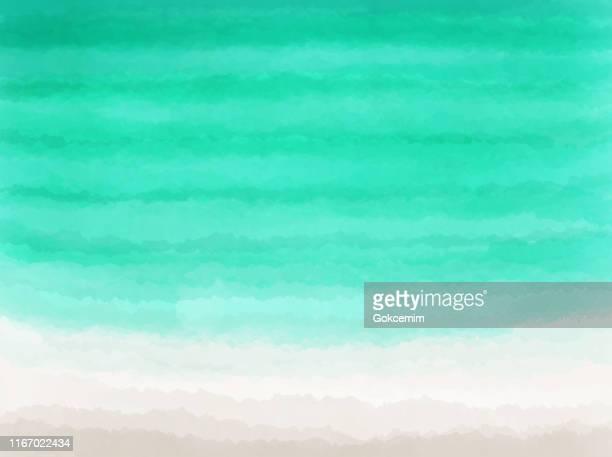 illustrations, cliparts, dessins animés et icônes de fond de plage d'aquarelle. bleu turquoise - vert et beige coloré main peint abstract texture.tropical summer concept, aquarelle strokes design element. - vacances à la mer