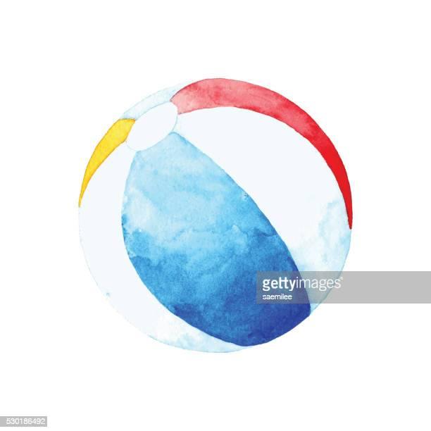 ilustraciones, imágenes clip art, dibujos animados e iconos de stock de acuarela pelota de playa - pelota de playa