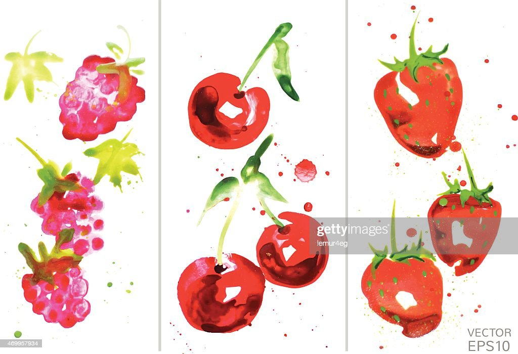 watercolor berry set