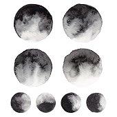 Watercolor Black Circles