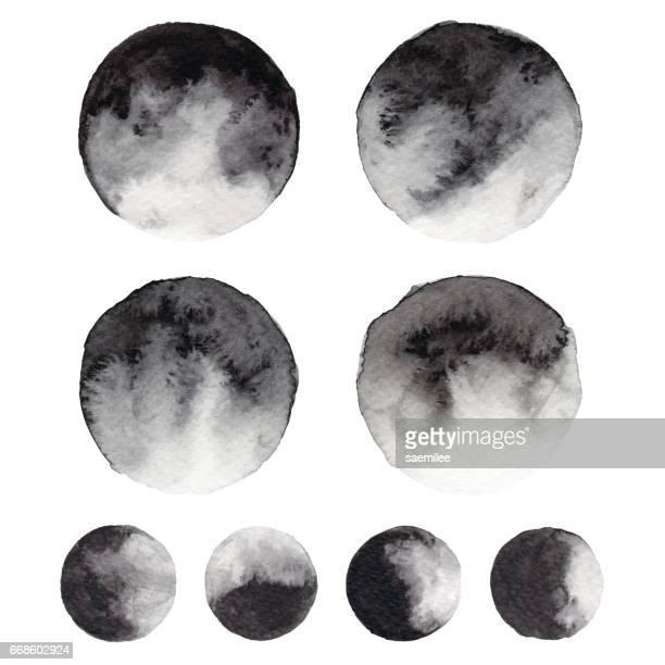 watercolor black circles - moon stock illustrations