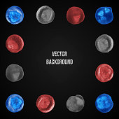 Watercolor Blots On Vector Background. Grunge illustration. Square border