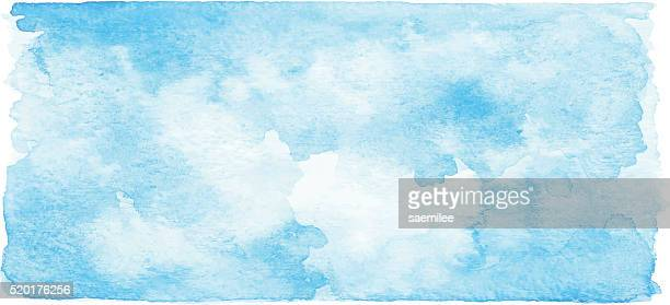 watercolor blue banner - sky stock illustrations