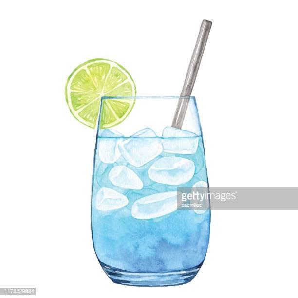 watercolor blue cocktail - lemonade stock illustrations