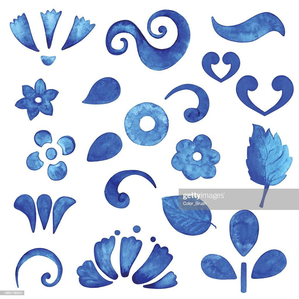 Watercolor blue design elements set