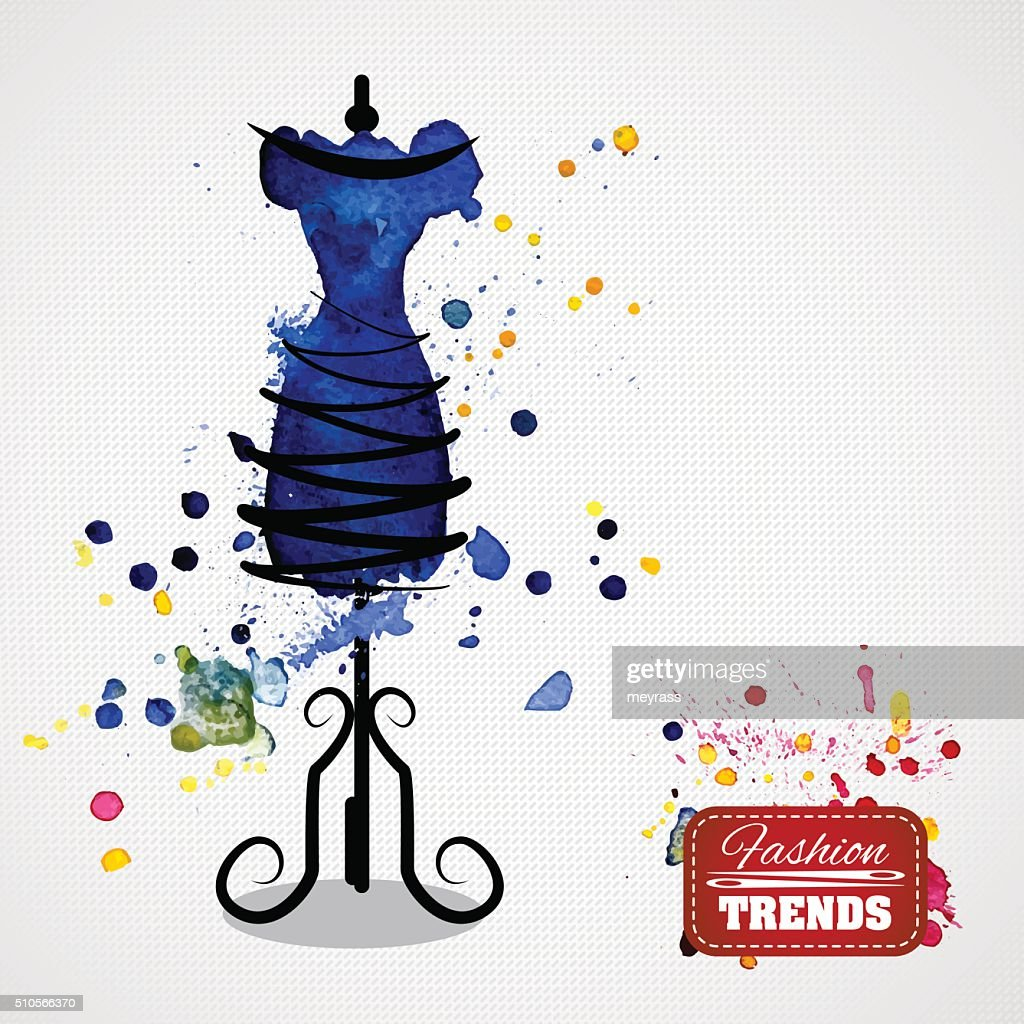 Watercolor blue dress on mannequin
