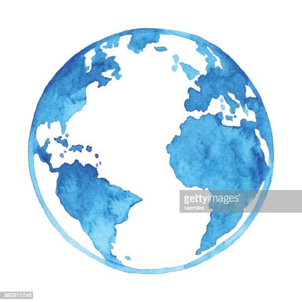 watercolor blue earth - single object stock illustrations