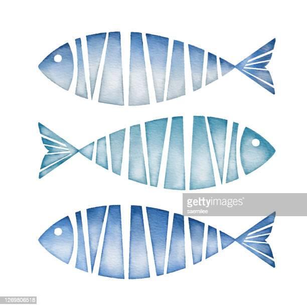 水彩青魚 - 魚介類点のイラスト素材/クリップアート素材/マンガ素材/アイコン素材