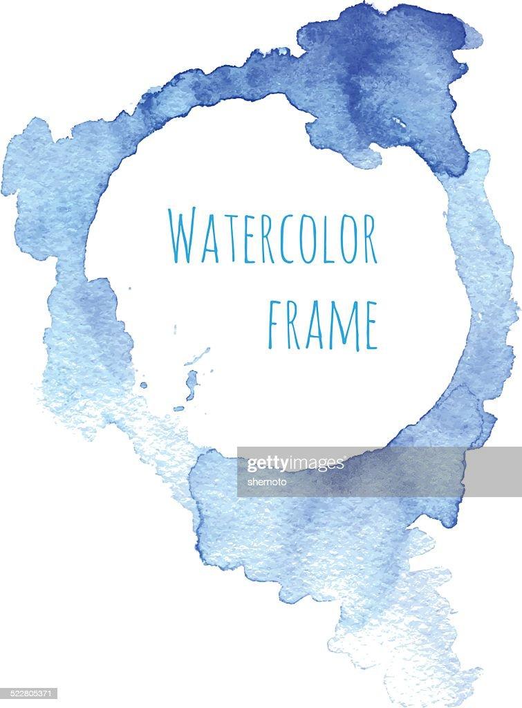 Watercolor blue frame. Vector illustration.