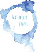 Watercolor blue frame. Vector illustration.