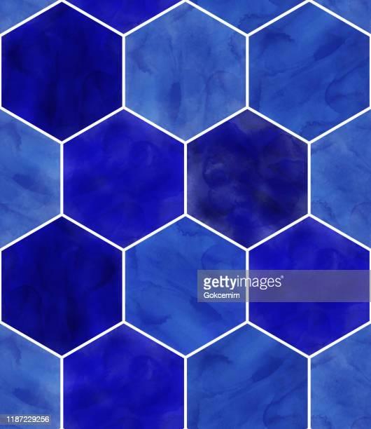 illustrations, cliparts, dessins animés et icônes de modèle d'aquarelle bleu hexagone sans couture. contexte abstrait, design element.vector tile honeycomb pattern, lisbon arabic geometric hexagon mosaic, mediterranean seamless navy blue ornament. - bleu roi