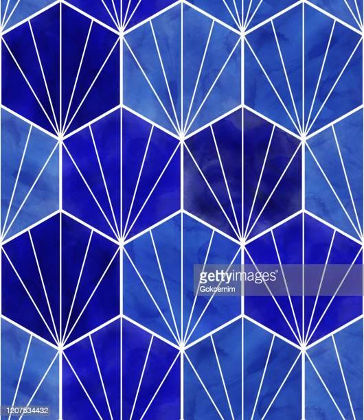 watercolor blue hexagon seamless pattern. abstract background, design element.vector tile honeycomb pattern, lisbon arabic geometric hexagon mosaic, mediterranean seamless navy blue ornament. - navy blue stock illustrations