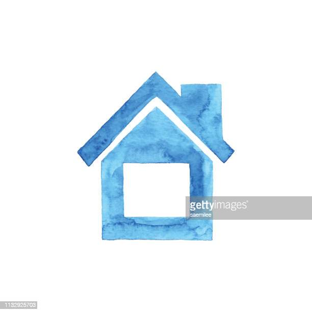 Watercolor Blue House Icon