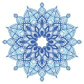Watercolor blue mandala.