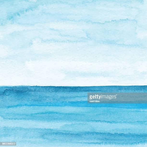 watercolor blue ocean background - horizon stock illustrations, clip art, cartoons, & icons