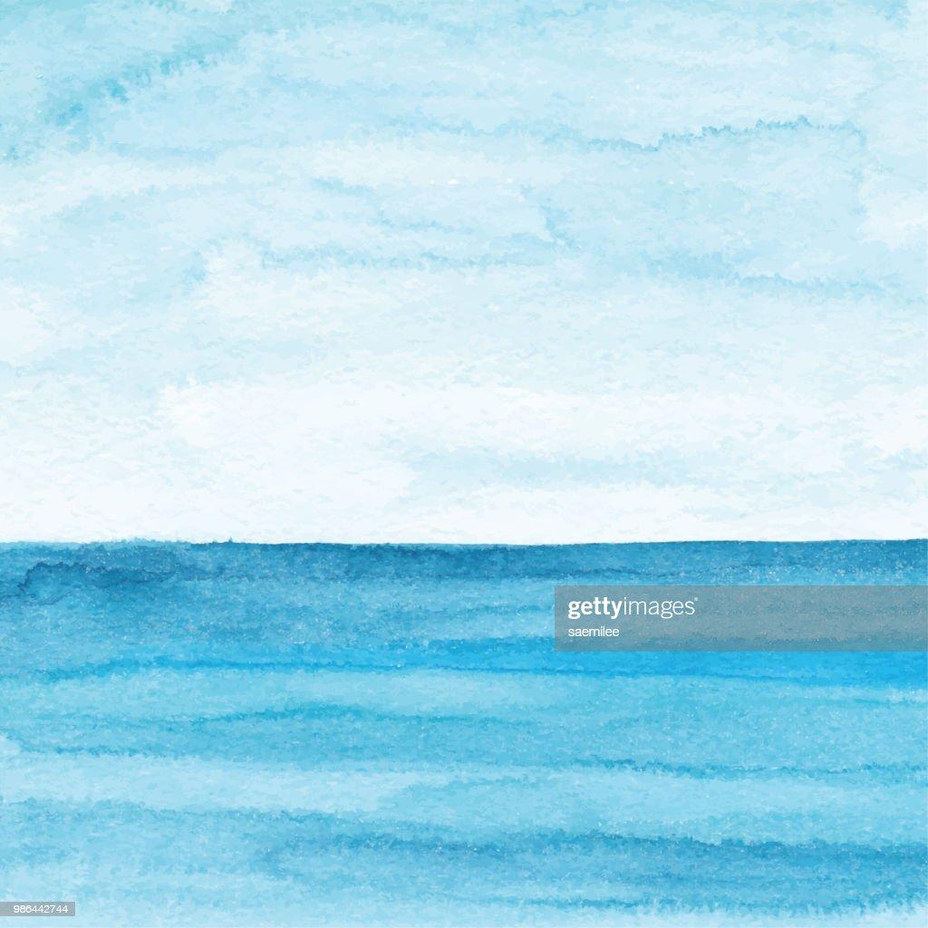 Watercolor Blue Ocean Background : stock illustration