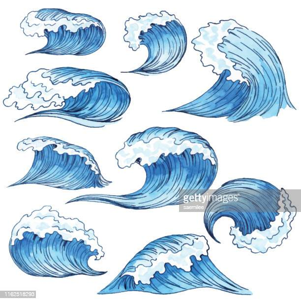 illustrations, cliparts, dessins animés et icônes de ondes bleues d'aquarelle - vague