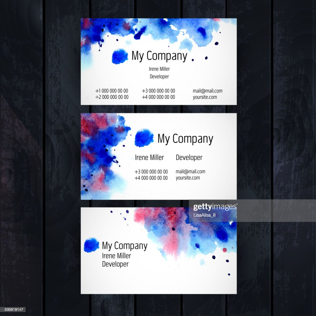Watercolor business card template : Vector Art