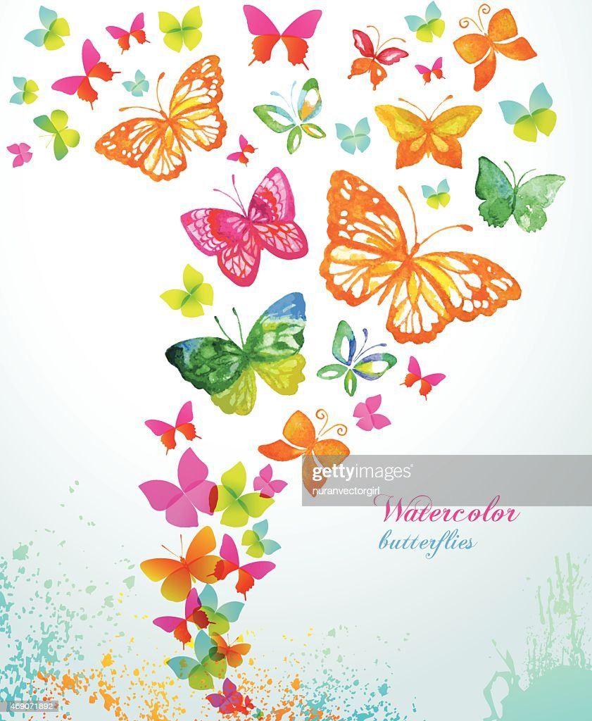 Watercolor butterflies and splash. Vector background.