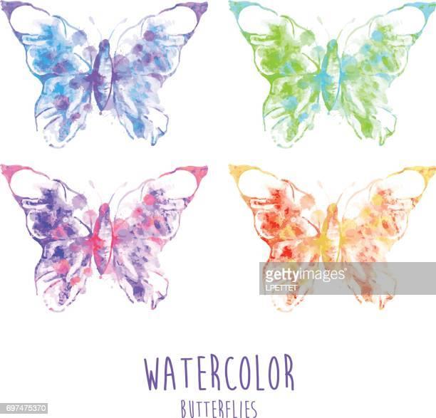 ilustrações, clipart, desenhos animados e ícones de borboletas em aquarela - borboleta