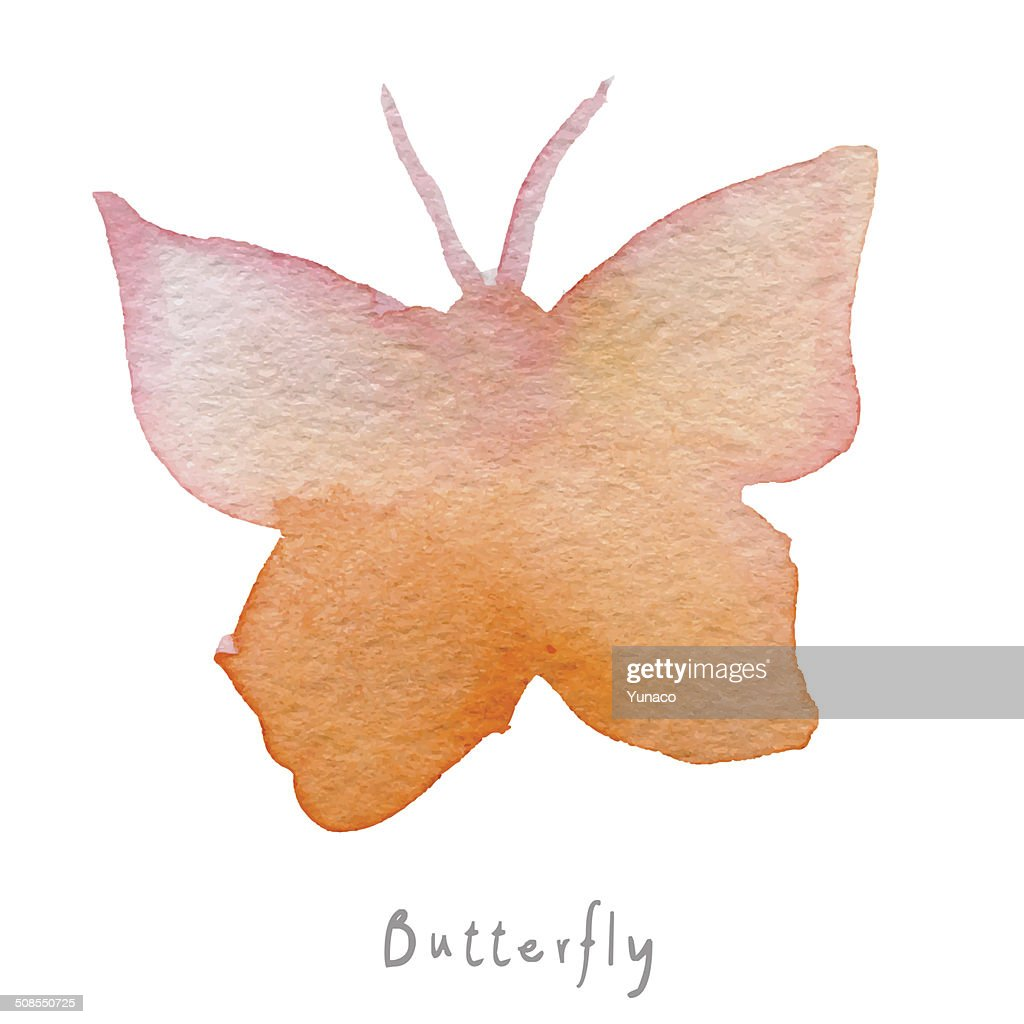 Watercolor butterfly hand drawn image. Vector eps10