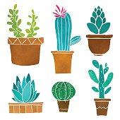 Watercolor cacti set