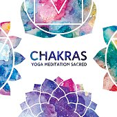 Watercolor chakras frame