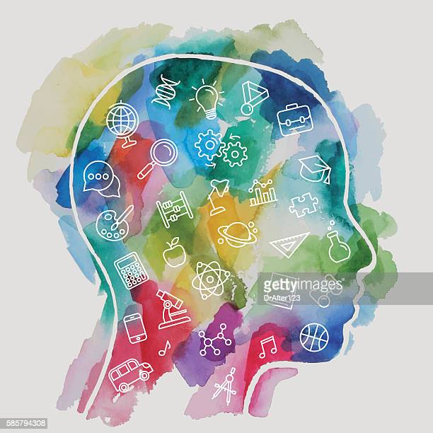 Watercolor Child Head Including Education Icons Set