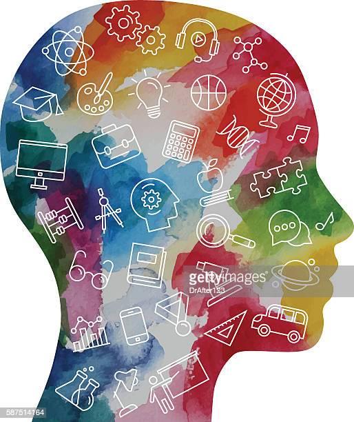 ilustrações, clipart, desenhos animados e ícones de watercolor child head including education icons set - cabeça humana