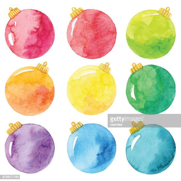 watercolor christmas balls - christmas ornament stock illustrations