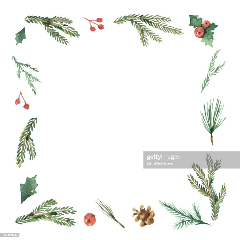 Watercolor Christmas frame with fir branches and place for text.
