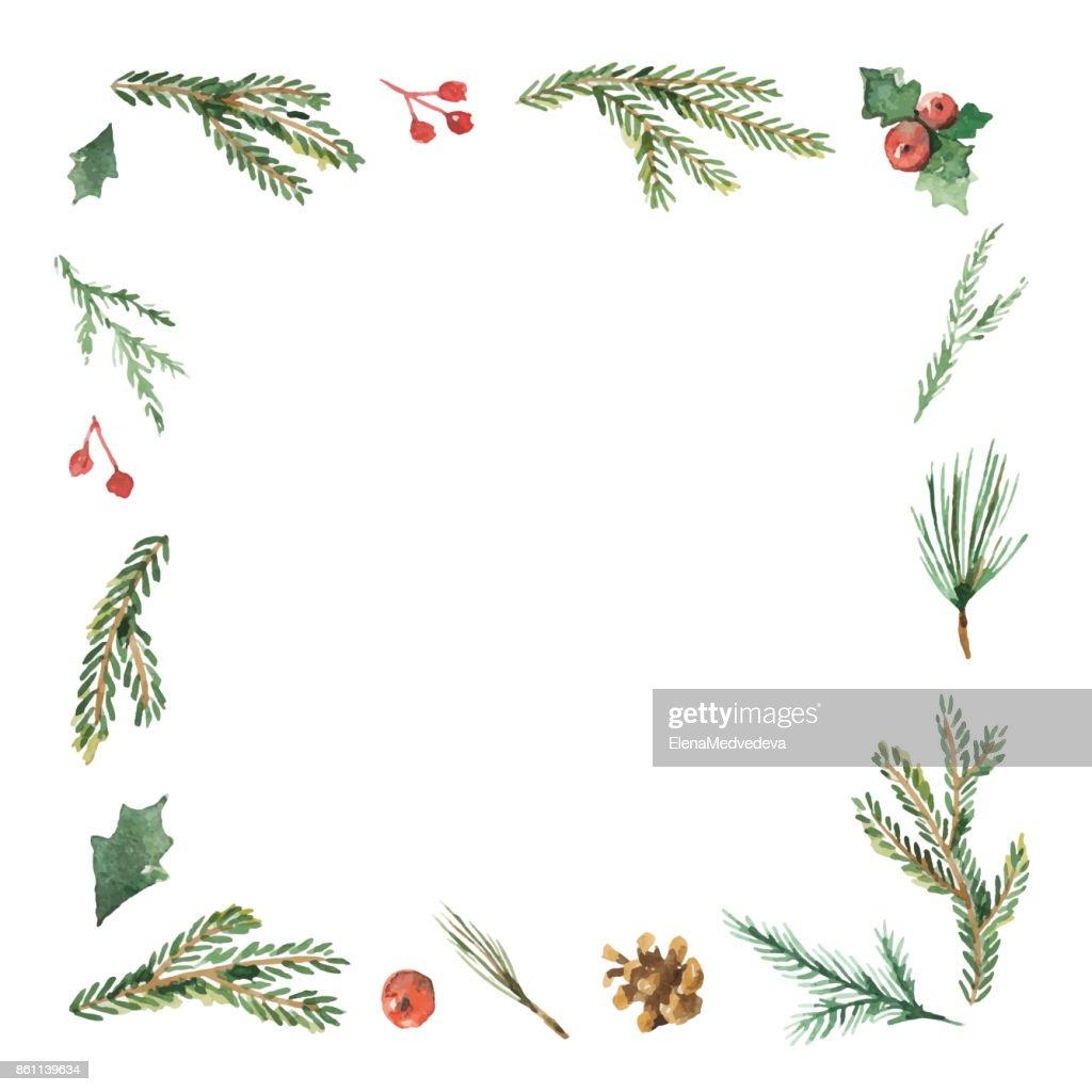 Aquarell Weihnachten Rahmen Mit Tannenzweigen Und Platz Für Text ...