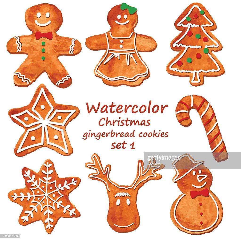 Watercolor Christmas gingerbread cookies