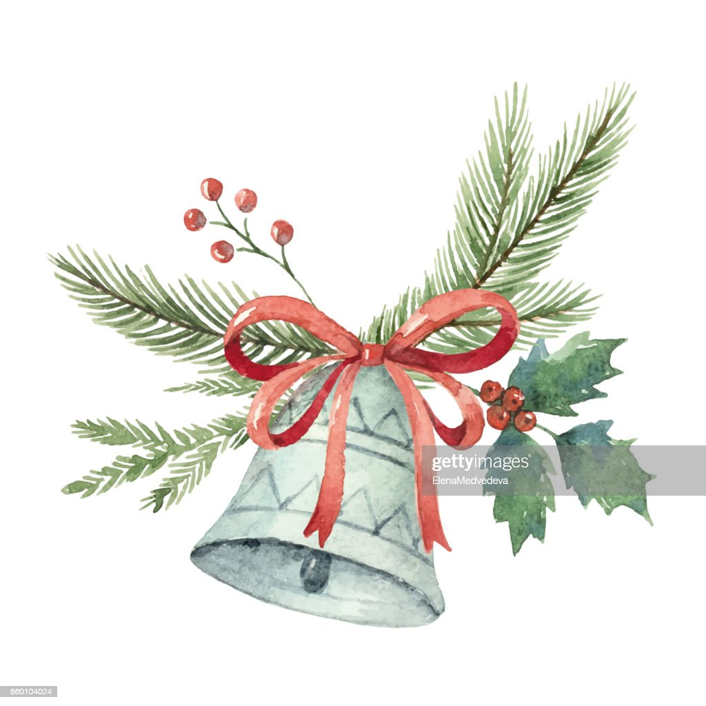 Watercolor Christmas vector bouquet with bell and fir branches.