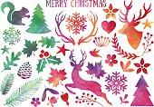 Watercolor Christmas, vector set