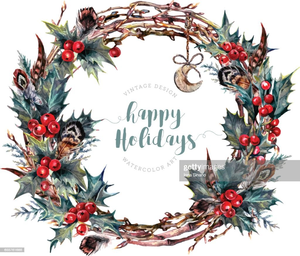 Watercolor Christmas Wreath Made of Holly Branches