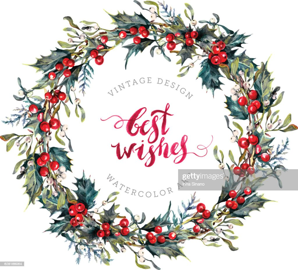 Watercolor Christmas Wreath of Holly and Mistletoe