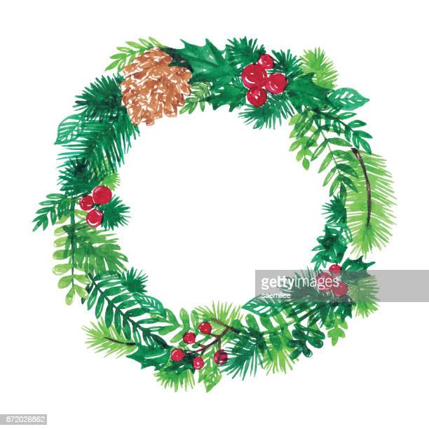 watercolor christmas wreath - christmas wreath stock illustrations