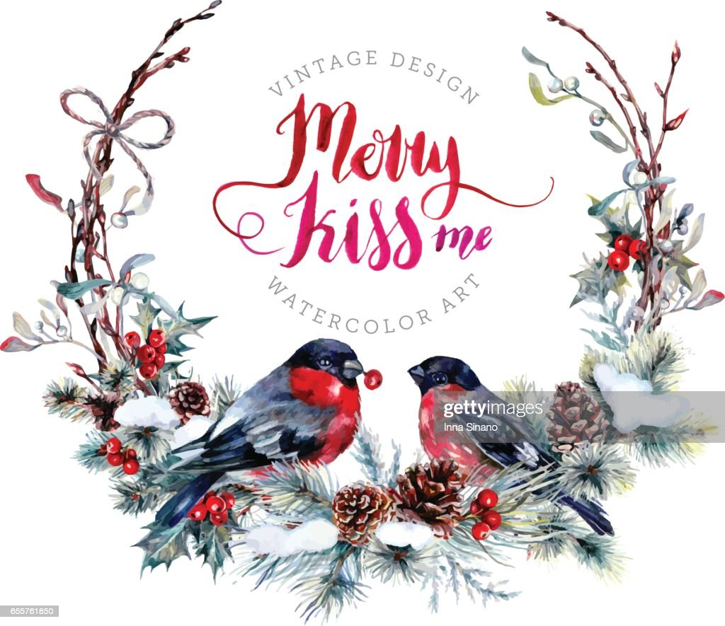 Watercolor Christmas Wreath with Bullfinches.
