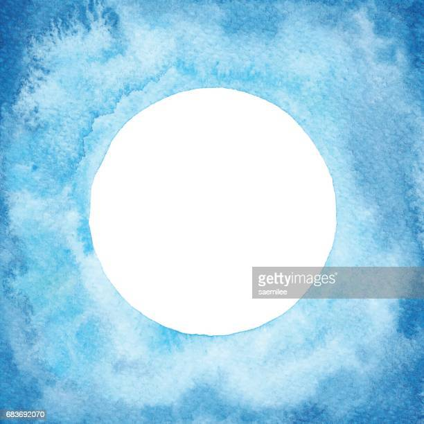 Watercolor Circle Frame Blue Gradient