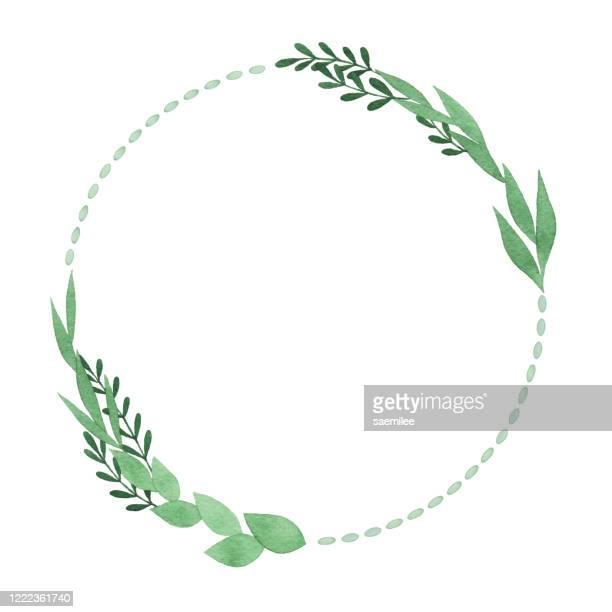 stockillustraties, clipart, cartoons en iconen met aquarel cirkelframe met groene bladeren - schoonheid in de natuur